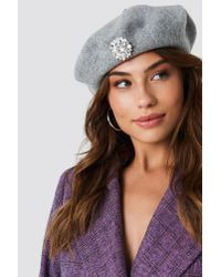 ebe8507caceb1 NA-KD Embellished Beret Hat Grey in Gray - Lyst