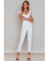 Lavish Alice - White Tailored Frill Jumpsuit - Lyst