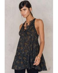 Free People | Black Printed French Girls Slip Dress | Lyst