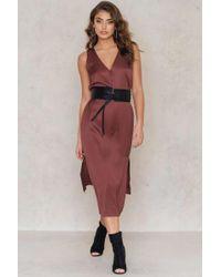 NA-KD | Red V-neck Double Slit Dress | Lyst
