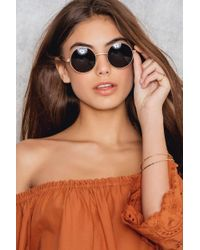 NA-KD - Brown Basic Round Sunglasses - Lyst