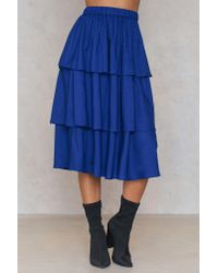 NA-KD - Blue Triple Layer Skirt Navy - Lyst