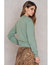 NA-KD - Green Chest Rose Embroidery Sweater - Lyst