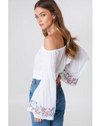 NA-KD - White Embroidered Smocked Off Shoulder Top - Lyst