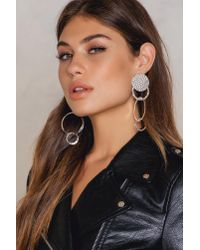 NA-KD - Metallic Hanging Structured Circles Earring - Lyst