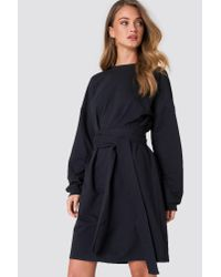 NA-KD - Black Tied Waist Oversize Dress - Lyst