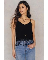 NA-KD - Black Bottom Fringed Singlet - Lyst