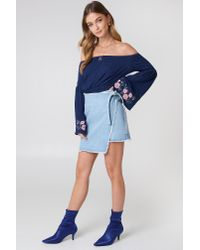 NA-KD - Blue Embroidery Wrapped Denim Skirt - Lyst