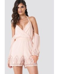 NA-KD - Natural Cold Shoulder Embellished Playsuit Beige - Lyst
