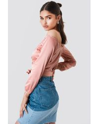 NA-KD - Satin Off Shoulder Top Pink - Lyst