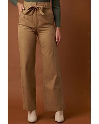 NA-KD - Natural Fold Up Wide Leg Pants Beige - Lyst