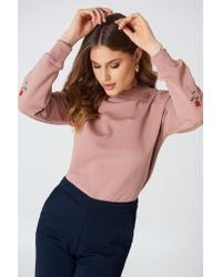 NA-KD - Rose Elbow Embroidery Sweater Dusty Dark Pink - Lyst