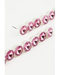 NA-KD - Pink Hanging Row Stone Earrings - Lyst