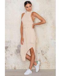 Lavish Alice   Natural Rib Knit Asymmetric Midi Skirt   Lyst