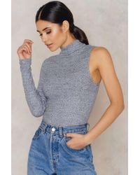 NA-KD | Gray Rib One Sleeve High Neck Top | Lyst
