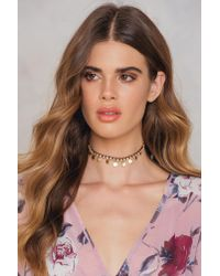 NA-KD - Metallic Rhinestone And Coin Choker - Lyst
