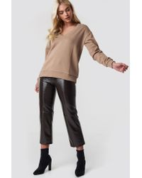 NA-KD - Purple V-neck Basic Sweater Mauve - Lyst