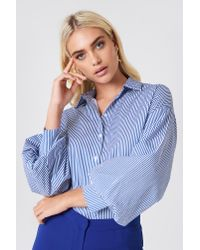 20e0173a3af24 Trendyol Striped Balloon Sleeve Shirt Navy in Blue - Lyst