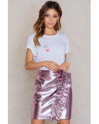 NA-KD - Metallic Frill Skirt Pink - Lyst