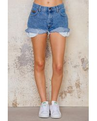 NA-KD   Blue Wrangler Mid Waist Vintage Shorts   Lyst