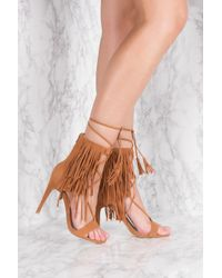 NA-KD - Brown Fringes Layer Strap Heels - Lyst