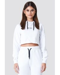NA-KD - Contrast Drawstring Cropped Hoodie White - Lyst