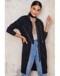 Just Female | Black Trench Bomber Jacket | Lyst