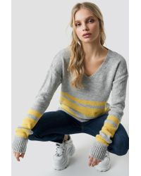 Trendyol - Arm Striped Knitted Sweater Gray - Lyst
