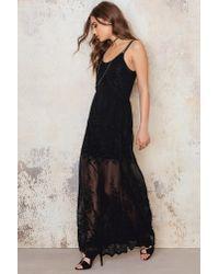 NA-KD - Black Embroidery Chiffon Long Dress - Lyst