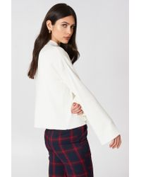 NA-KD - White High Neck Wide Sleeve Sweater - Lyst