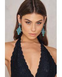 NA-KD - Green Statement Jewel Drop Earrings - Lyst