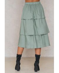 NA-KD - Triple Layer Skirt Duck Green - Lyst