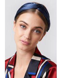 NA-KD - Satin Hairband Dark Blue - Lyst