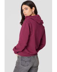 NA-KD - Purple Basic Zipped Hoodie Burgundy - Lyst