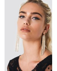 NA-KD - Metallic Long Multichain Rhinestone Earrings - Lyst