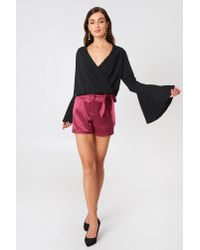 NA-KD - Multicolor Tie Waist Satin Shorts Burgundy - Lyst