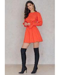 Free People - Orange Victorian Waisted Mini Dress - Lyst