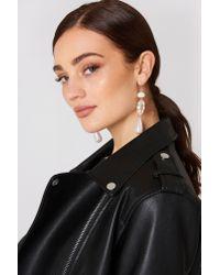 Mango - White Pearl-effect Crystal Earrings - Lyst