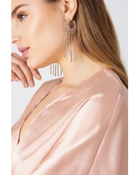 NA-KD - Metallic Sparkling Hoop & Chain Earrings - Lyst