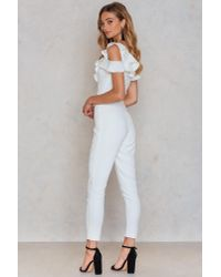 Lavish Alice - White Tailored Frill Jumpsuit - Lyst