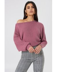 NA-KD - Off Shoulder Knitted Sweater Purple Rose - Lyst