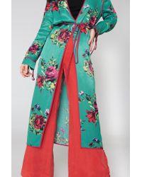 Free People - Green Slim Kimono Duster Coat - Lyst