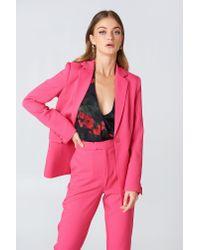 NA-KD - Pink Padded Shoulder Blazer - Lyst