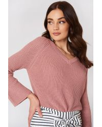 Mango - Flared Sleeve Ribbed Jumper Pink - Lyst