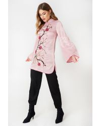Glamorous Embroidered Long Sleeve Dress Light Pink