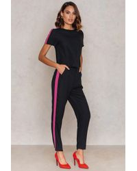 NA-KD - Black Sporty Striped Pants - Lyst