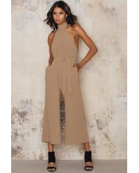 NA-KD - Brown Culotte Tie Neck Jumpsuit - Lyst