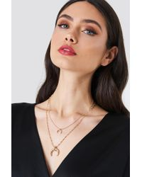 NA-KD - Metallic Double Crescent Structured Chain Necklace Gold - Lyst