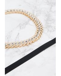 Glamorous - Metallic Ribbon And Gold Chain Choker Necklace - Lyst