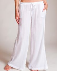 Skin | White Cotton Gauze Palazzo Pant | Lyst